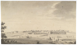 North View of Bangalore from the Pettah shewing the Bastions that were breached.